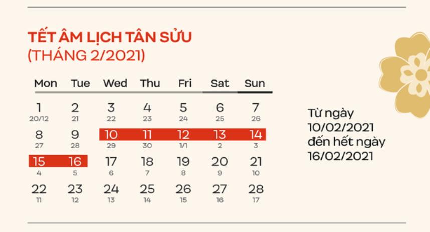 Lịch nghỉ Tết Tân Sửu năm 2021